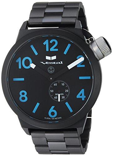 Vestal 'Canteen Metal' Quartz Stainless Steel Casual Watch, Color:Black (Model: CNT453M08.3BKM)