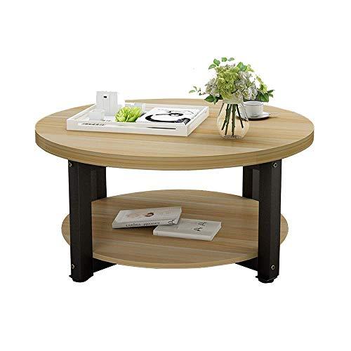 2 Tier Holz Couchtisch Kleine Wohnung Esstisch Bürotisch Wohnzimmer Beistelltisch Kleiner Runder Tisch Zwei Größen, B-T, e, 60×45cm