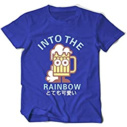 Oudan Camiseta de Manga Corta de Algodón de Estilo Casual para Hombre Camiseta de Cerveza Impresa Unisex (Color : Azul, Tamaño : L)