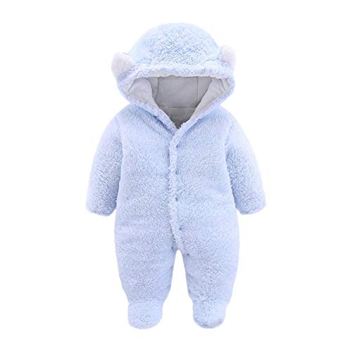 Infant Baby Teddy-Fleece Strampler Overall Yanhoo Langarm Einfarbig Cartoon Tier Verdickung Plus SAMT mit Kapuze Fußteil ()