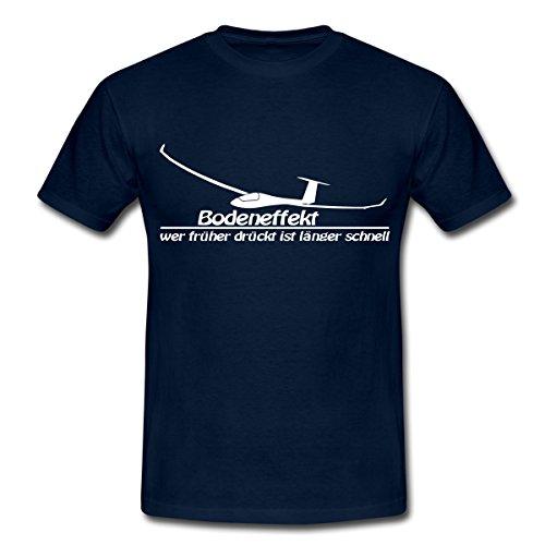 Spreadshirt Segelflug Segelfliegen Bodeneffekt Spruch Männer T-Shirt, L, Navy