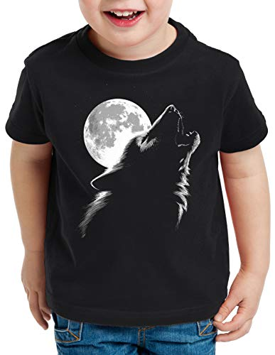 Vollmond-kinder T-shirt (style3 Heulender Wolf bei Vollmond T-Shirt für Kinder Rudel Wald, Größe:128)