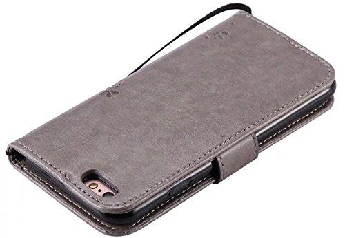 """Nnopbeclik®[Coque Iphone 6 silicone / Coque Iphone 6S silicone] Wallet/Protable en Bonne Qualité PU Cuir Housse pour Iphone 6 Coque silicone / Iphone 6S Coque silicone (4.7 Pouce) """"Chat et Arbre Papil kaki"""