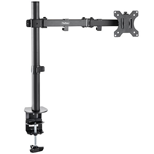 "VonHaus Single Arm LCD LED Monitor Desk Mount Bracket for 13""-27"" Screens with ±45° Tilt, 360° Rotation & 180° Pull Out Swivel Arm - Max VESA 100x100"