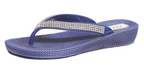 Flip-Flop/Sandalen für Damen, Keilabsatz, flach, für Sommer/Strand/Abend, Zehensteg Dunkelblau