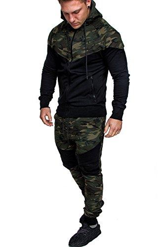 Amaci&Sons Herren Biker Camouflage Sportanzug Jogginganzug Trainingsanzug 2Teiler K1 Camouflage Khaki M