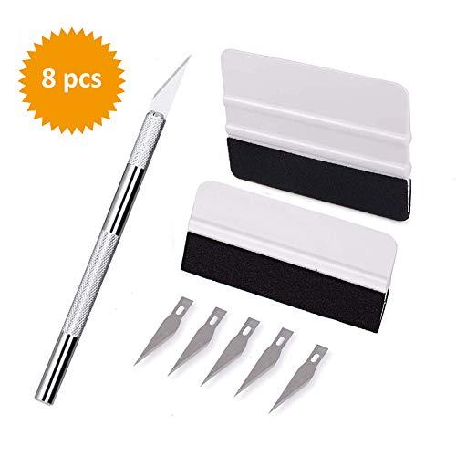 TBoonor Folien Werkzeug Set Rakel Set folierungs Rakel mit Präzisionsmesser und Folienrakel für Autofolie Tönungsfolie Installation Werkzeug (8 PCS) -