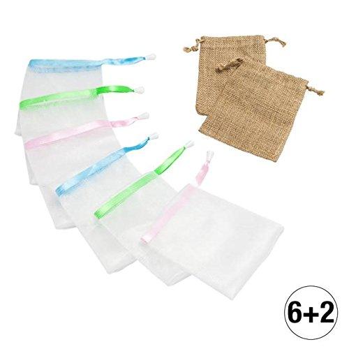Amazy Seifennetz Set – 8 praktische Seifensäckchen zum gründlichen Einschäumen mit Seife und Seifenresten (6 x Nylon | 2 x Sisal)