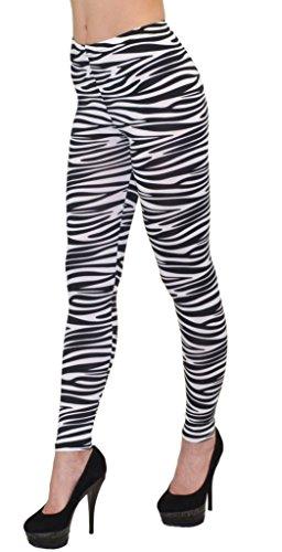 by-tex Damen Leggings Zebra-Look Legins Schwarz Weiß Hose Gestreifte Legings Gemusterte Leggins...