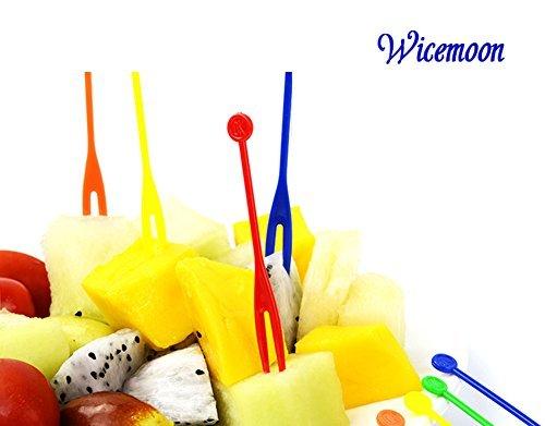 wicemoon Einweg Fruit Gabeln Kunststoff Cocktail Picks Sticks Cute Food Pick Party Supplies Teller Picks Dessert Gabeln Kuchengabeln (multicolour-300pcs) (Cocktail Cute)