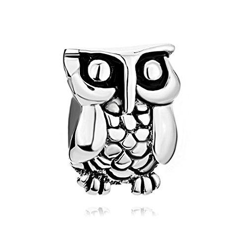 Korliya owl charm in argento sterling 925animali di perle per bracciale
