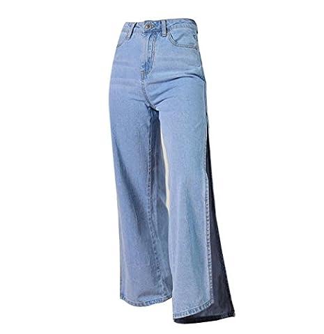femmes jeans disco taille haute en denim droite lâche pantalon poche à fermeture éclair de split fourchette elasticité pantalons , blue , 42