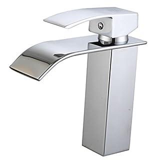 41AAMal8PFL. SS324  - DP Grifería - Grifo monomando de lavabo efecto cascada, modelo Eneldo