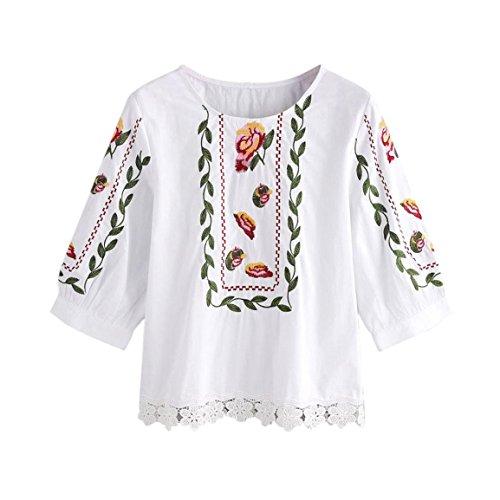 Frauen gedruckt 3/4 Hülsen-Bluse,Moonuy Lace Floral Blumen beiläufige Oberseiten -loses T-Shirt (L2, Weiß) (Neck Ärmellose Drape Top)