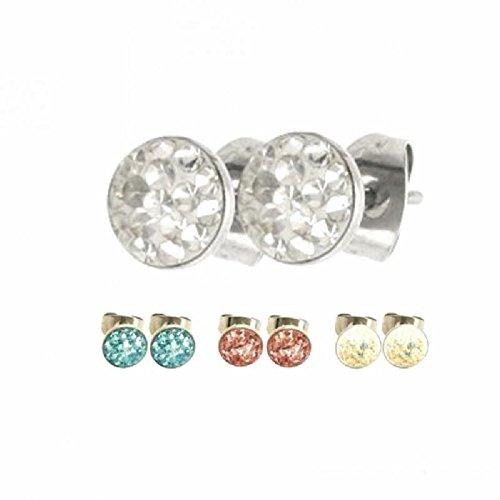 eeddoo acier–Boucles d'oreille–Design époxy (Boucles d'oreilles créoles argent pour homme et femme) RC arc / arc-en-