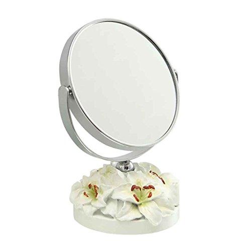 Miroirs Double-Face Grand Tableau de Maquillage résine Mode Mignon Portable Princesse Habillage HD-Face tempérament Fine résine châssis Bainianhaoge 5 Pouces