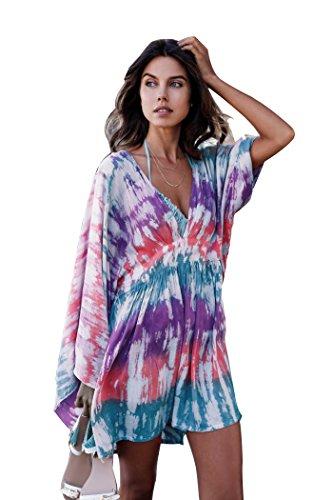 Tragen ärmel (Damen Sommer Chiffon Strandkleid im farbenfrohen Kimono-Look als bequemes und luftiges Long Shirt oder Strandbluse mit halblangen Ärmeln über einem Bikini zu tragen (CP-CF) (Color 8))
