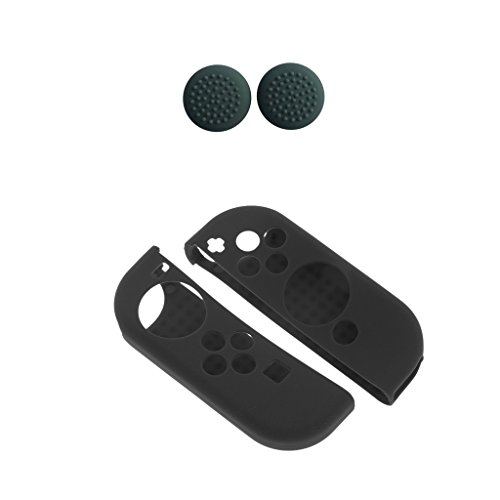 Segolike 2pc Gel Rubber Case Flexible+ 8 Pieces Controller Thumb Cap Cover for Switch