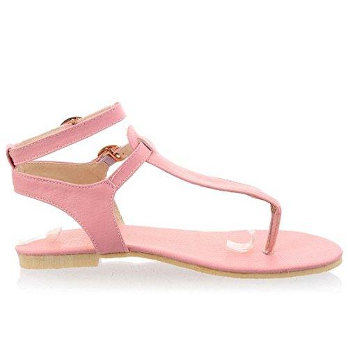 TAOFFEN Femmes Mode Clip Toe Open Back Sandales T-strap Plat Sangle De Cheville Chaussures 771 Rose