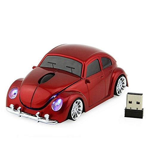 Winnes Mini Maus kabellos Wireless Mouse 2.4GHz Funkmaus Auto Style Maus Computer Maus ergonomisches Design Mini Mäuse mit USB Nano Empfänger Für PC Laptop iMac MacBook Microsoft Pro Office Home Rot