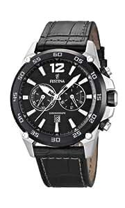 Festina - F16673/4 - Montre Homme - Quartz - Chronographe - Chronomètre/ Aiguilles lumineuses - Bracelet Cuir Noir