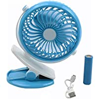 CITRA Battery Operated Clip Fan,Small Portable Fan Powered by Rechargeable Battery USB Desk Table Personal Fan - Mix Colors