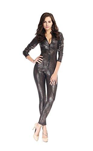 Bigood Combinaison Moulante Femme Cuir imité Déguisement Costume Soirée Clubwear Zippé Couleur A