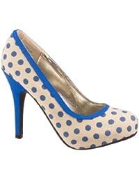 Anne Michelle , Escarpins pour femme - Beige - beige-blue, 40
