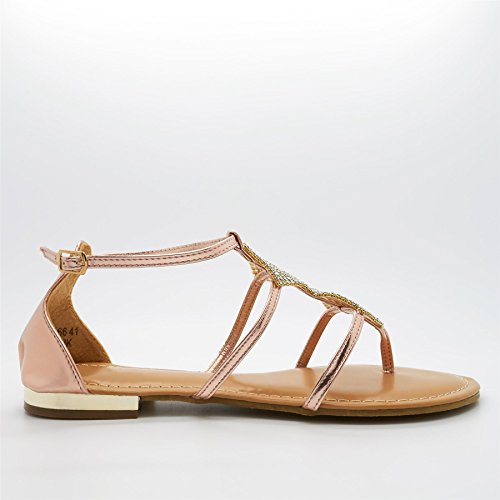 new product 3bcef 04a8c imminent Femme Gull Beige Sko Rose London Gladiator 0xEInTa