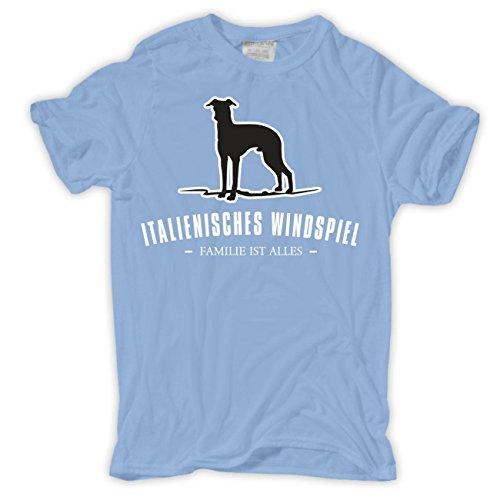 Männer und Herren T-Shirt Italienisches Windspiel - Familie ist alles Größe S - 8XL Hellblau