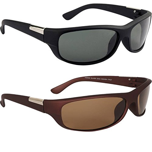 Y&S Wrap-Combo-Black-Brown Unisex Sunglasses For Mens Combo (Wrap-Combo-Black-Brown)