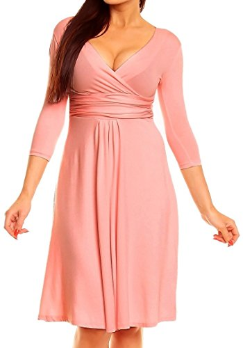 Zeta Ville - Damen Skaterkleid mit Empire-Taille Kleid 3/4 Ärmeln - 282Az Pulver Rosa