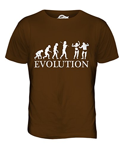 CandyMix Festa In Spiaggia Evoluzione Umana T-Shirt da Uomo Maglietta Marrone