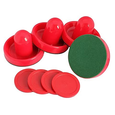 SODIAL(R) 4Pcs Air Hockey Table Goalies with 4pcs Puck Felt Pusher Mallet Grip Color Red