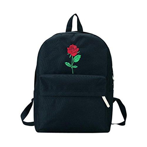 Longra Sacchetto di viaggio degli amanti dello zaino di viaggio del ricamo della Rosa Nero_A