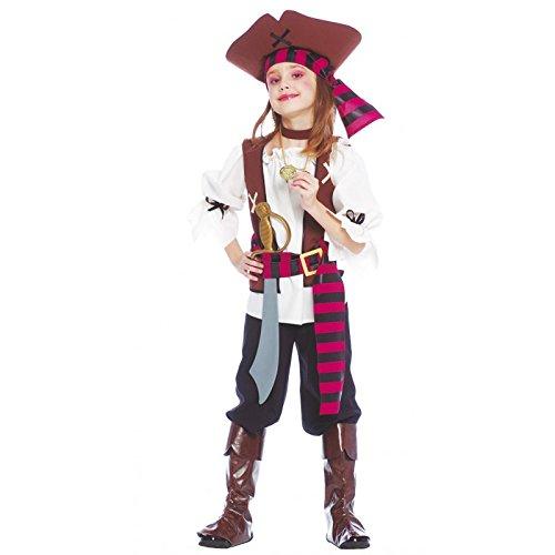 Costume piratessa dei sette mari bambina - large 10 - 12 anni, marrone