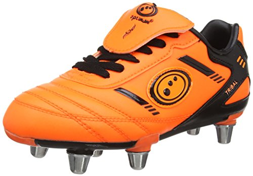 OptimumTribal - Scarpe da rugby Bambino, colore arancione (fluro orange/black), taglia 1 UK (33 EU)