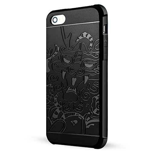iPhone 5 hülle,iPhone 5s hülle,iPhone Se hülle,Lizimandu Case Für apple iphone 5/5s/se aus TPU Silikon - Handy Schutzhülle Cover(Schwarz/Black) Drachen Schwarz/Dragon Black