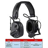 ATAIRSOFT Taktisch Kopfhörer Militärstandard Schießen Ohrenschützer verwendung mit PTT Walkie Talkie Radio Airsoft Taktisch Headset Schwarz
