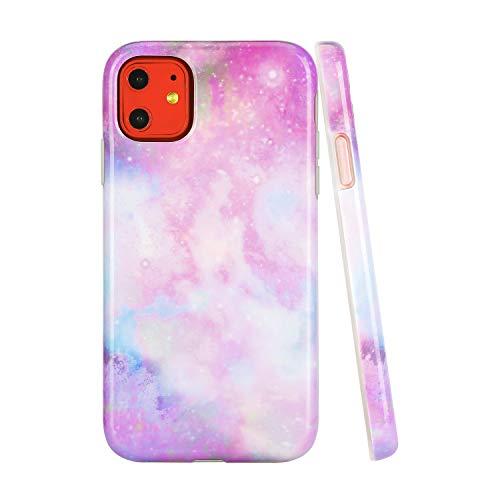 SunshineCases【Kompatibel: Apple iPhone 11】 Dünne, Ganzkörper-Schutzhülle für Damen und Mädchen, Unicorn Marble Galaxy