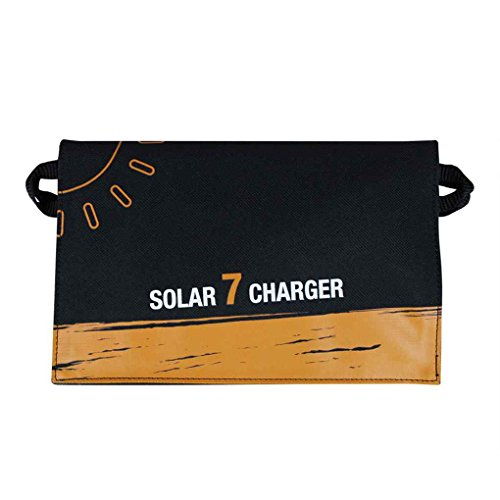 Providethebest 7W USB Foldable Solar Charger Solar Panel Module Waterproof for Cell Phone iPhone Samsung Xiaomi iPad Tablet PC