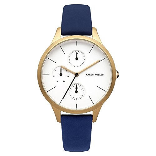 Karen Millen KM144UGA Ladies Navy Blue Soft Touch Leather Strap Watch