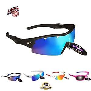 RayZor Liteweight UV400 Black Sports Wrap Ski Sunglasses,1 Pce Vented Blue Mirrored AntiGlare Lens.