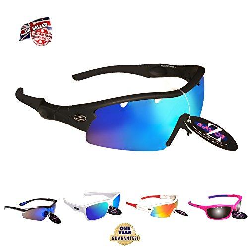 RayZor Liteweight UV400 Black Sports Wrap Ski Sunglasses,1 Pce Vented Blue Mi...