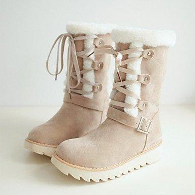 RTRY Scarpe Da Donna In Pelle Nubuck Autunno Inverno Comfort Novità Snow Boots Fashion Stivali Stivali Tacco Piatto Punta Stivali Mid-Calf Lace-Up Per Noi Di Mandorla9 / Eu40 / Uk7 / Cn41 US9.5-10 / EU41 / UK7.5-8 / CN42