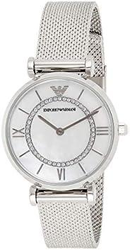 ساعة امبوريو ارماني للنساء بمينا من عرق اللؤلؤ ستانلس ستيل انالوج - AR11319, Silver