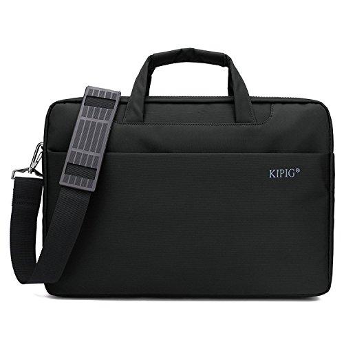 Sacoche pour ordinateur portable,KIPIG Housse Pochette Besace Sacoche Ordinateur Portable avec poignée de transport & Bandoulière amovible & Side Pocket supplémentaire pour 13,3-14 pouces(Noir)