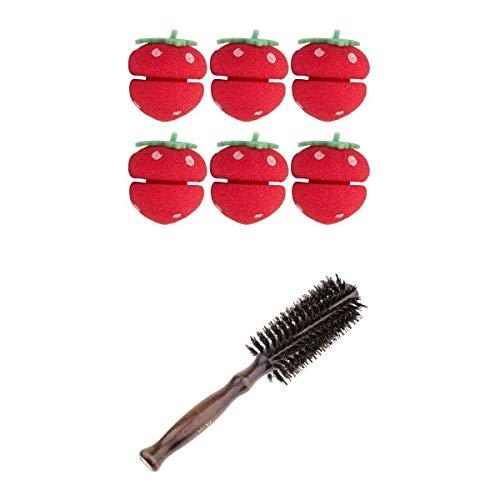 Fenteer Peignes à Cheveux Rond Brosses des Cheveux Rouleau avec avec Bigoudis d'Eponge de Fraises pour Coiffure Boucles
