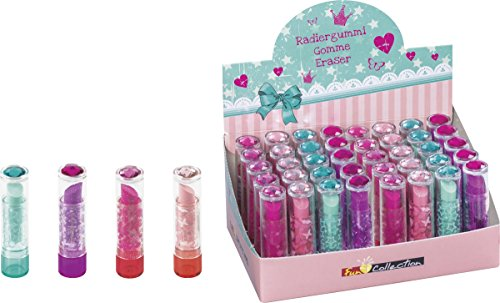 Brunnen 102988502 Radiergummi / Radierer Lipstick Fun Collection, 7 x 2 cm, mit Brillant-Topper, 4...