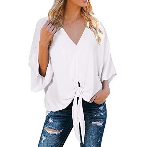 Tohole T-Shirt Damen V-Ausschnitt Solide Tunika Sommer Tops Damenhemden LäSsige Einfarbig Kurzarmshirt V-Neck Loose Shirt UnregelmäßIge Saum Kurzarm Oberteil Schmales Strappy(weiß,XL)